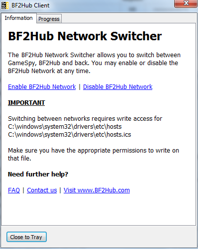 BF2Hub Network switcher